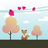 Fox sitting under a tree with birds above it. A Fox sitting face forward under a tree with Magenta birds sitting above it on the power lines and trees Stock Image