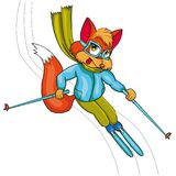 Fox skier. Cartoon style.  image on white background. Clip art for children Royalty Free Stock Photography