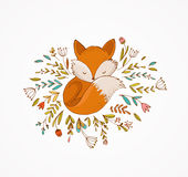 Fox sleeping on the flowers -  lovely illustration and card Stock Photo