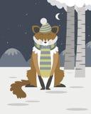Fox in the snow. In editable vector file Stock Photos