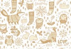 Fox, sowy, płatek śniegu, królik, jemioła i skarpety, ilustracji