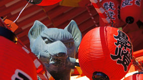 Fox statue of Fushimi Inari Shrine in Kyoto Stock Photography