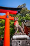Fox statue at Fushimi Inari Taisha, Kyoto, Japan Stock Photos