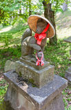 Fox statue in Inari Shinto Shrine of Aizu-Wakamatsu Castle, Japa. Statue of kitsune in straw hat in Inari Shinto Shrine of Aizu-Wakamatsu Castle, Japan. Kitsune Royalty Free Stock Photography