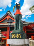 Fox statue stone at Fushimi Inari Kyoto, Japan. Fox statue is made from stone for hallow and praising the thing need to successful Stock Photo