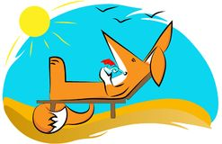 Fox sunbathing lying on a deckchair, drinking a soft cocktail under the sun and singing gulls. vector illustration
