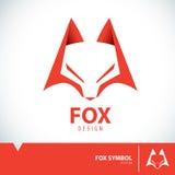 Fox symbol icon. Orange geometric fox symbol icon design. Vector illustration royalty free illustration