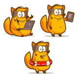 Fox tech support phone in lifebuoy royalty free illustration