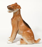 Fox terrier Dog ceramic figurine, isolated on white Royalty Free Stock Images