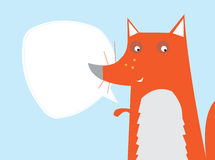 Fox Text Bubble. Cute fox cartoon character with a large blank text bubble, illustration Stock Photo