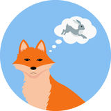 Fox thinking about hare. Vector illustration of red fox thinking about a hare on the blue round background Stock Photos