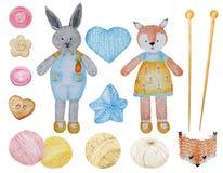 Fox tricottato acquerello e coniglio, insieme sveglio di clipart del filato di lana Raccolta dei giocattoli tricottati disegnati  royalty illustrazione gratis