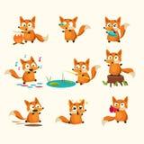 Fox-Tätigkeiten mit verschiedenen Gefühlen Glänzendes und glattes Schild und Taste mit den blauen und weißen Farben Stockfoto