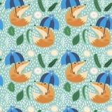 Fox under the umbrella. Pattern Stock Image