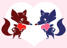 Fox valentine card. Illustration of two cute foxes deep in love with each other Royalty Free Stock Images