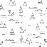 Fox w lasowym bezszwowym wektorowym czarny i biały wzorze Zdjęcie Stock