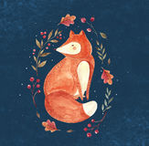 The fox. Watercolor illustration with sited fox and floral wreath on dark background Stock Image