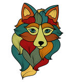 Fox with waves ornament. Vector. It can be used for tattoo or t-shirt logo Stock Image