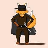 Fox wearing costume of Zorro movie character Stock Photos