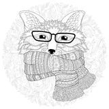 Fox is wearing a scarf.  Coloring page Stock Photo