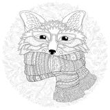 Fox is wearing a scarf.  Coloring page Royalty Free Stock Photos