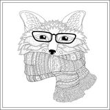 Fox is wearing a scarf.  Coloring page Royalty Free Stock Photo