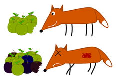 Fox will eat rotten apple Stock Photography