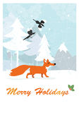 Fox in winter forest Stock Images