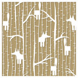 Fox in winter forest pattern - laser cutting vector illustration Royalty Free Stock Image