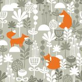 Fox in winter forest seamless pattern. Vector illustration Stock Images