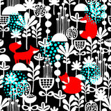Fox in winter forest seamless pattern royalty free illustration