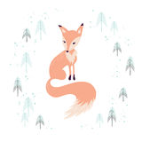 Fox in winter pine forest  on white. Stock Photo