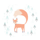 Fox in winter pine forest  on white. Stock Photography
