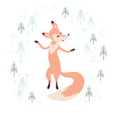 Fox in winter pine forest  on white. Royalty Free Stock Image