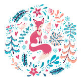 Fox With Winter Flowers And Snowflakes Stock Photography