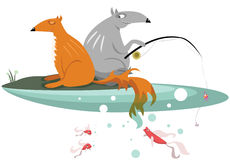 Fox and Wolf are fishing Stock Image