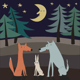 Fox wolf and hare Royalty Free Stock Images