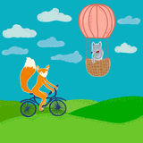 Fox and wolf travelling. Fox riding on bike, wolf drinking tea on a balloon. Cartoon style illustration Stock Images