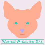 Fox  World Wildlife Day. Vector illustration of World Wildlife Day with fox in pastels. March 3. Can be used for your design, card, banner, poster and calendar Stock Image