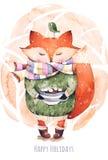 Fox y pájaro en acuarela libre illustration