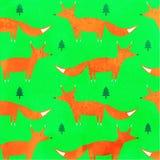 Fox y piceas en un fondo verde Imagen de archivo