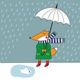 Fox z parasolem w deszczu Obrazy Royalty Free