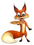 Fox-Zeichentrickfilm-Figur mit Pizza Lizenzfreie Stockfotos