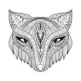 Fox-zentangle Art für Malbuch für Erwachsene Lizenzfreies Stockbild