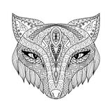 Fox zentangle style for coloring book for adults royalty free illustration