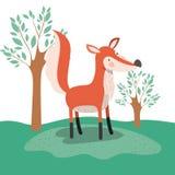 Fox zwierzęca karykatura w lasu krajobrazu tle Zdjęcie Royalty Free