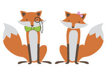Foxes couple illustration. Illustration of a cute foxes couple, isolated on white Stock Photos