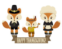 Foxes family pilgrims Royalty Free Stock Images
