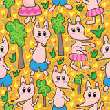 Foxes Forest Seamless Pattern_eps Royalty Free Stock Photo