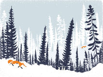 Foxes in the forest. Vector winter landscape with silhouettes of trees and firs Stock Photo